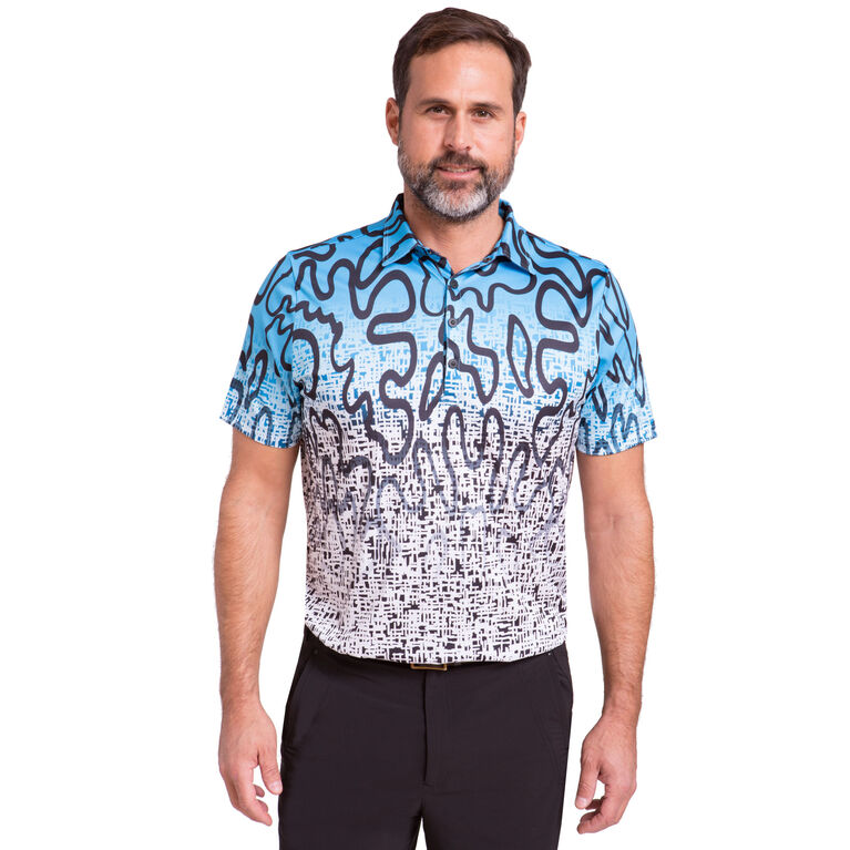 Short Sleeve Squiggle Print Polo