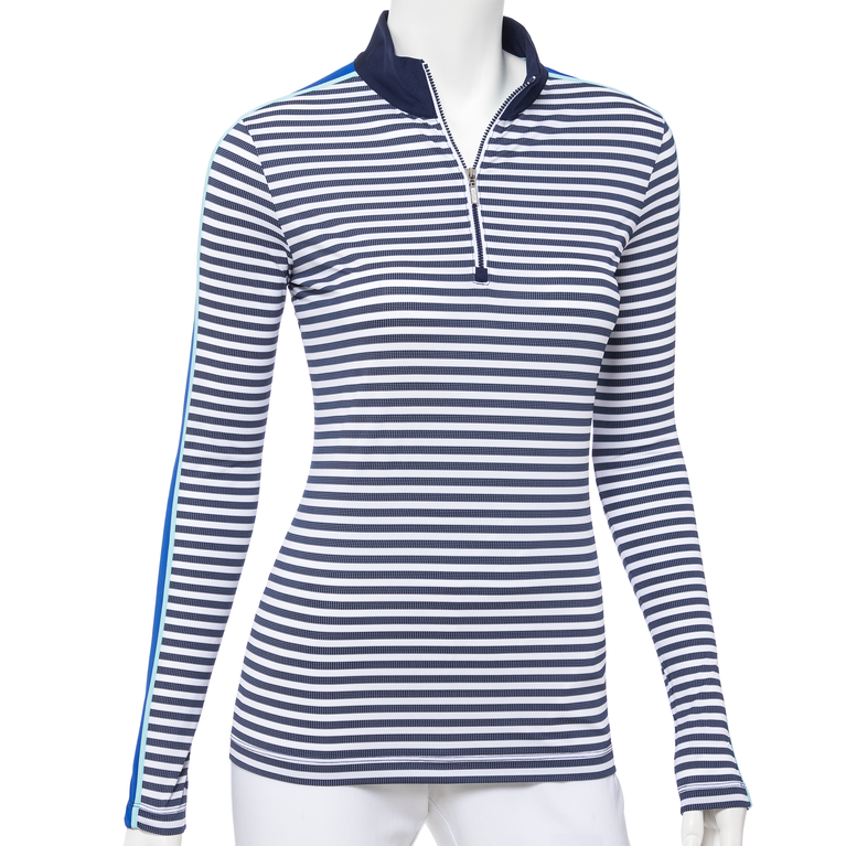 Out of the Blue Collection: Long Sleeve Textured Stripe Quarter Zip Pull Over