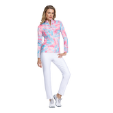Alternate View 1 of Fun in the Sun Collection: Palm Print Long Sleeve Quarter Zip Pull Over