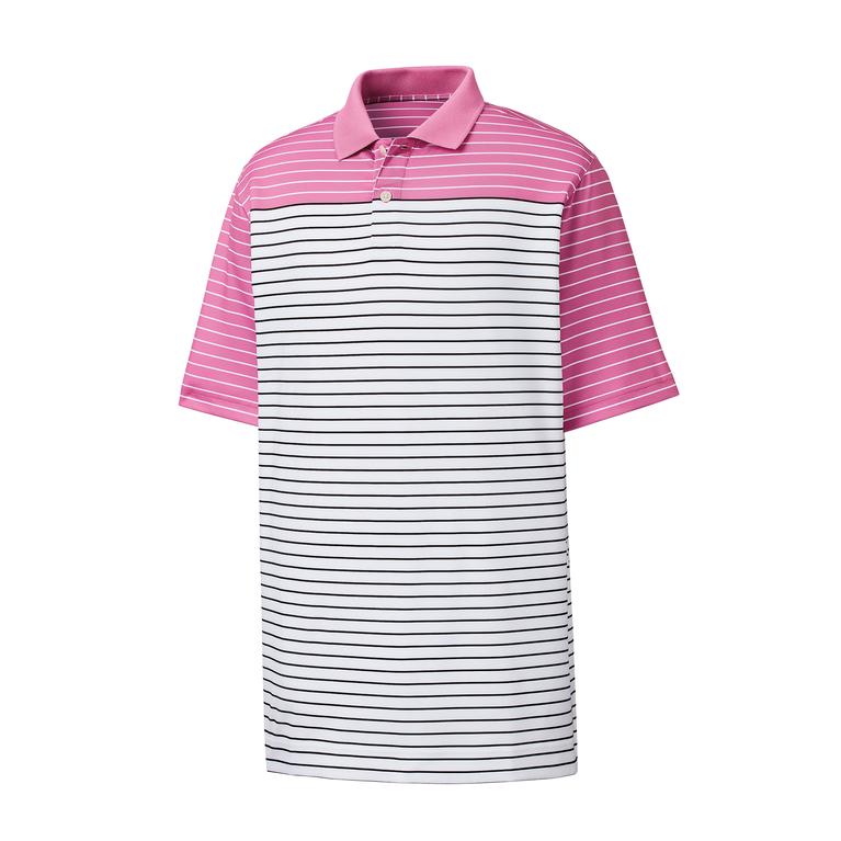 Lisle Color Block Stripe Knit Collar Athletic Fit