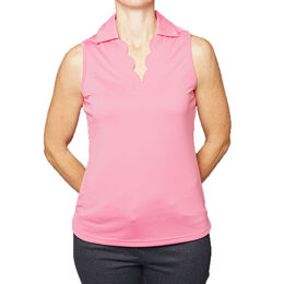 Pebble Beach Scallop Neck Sleeveless Polo