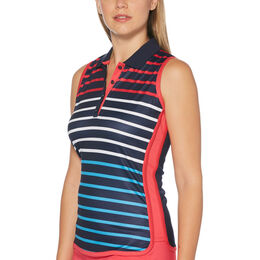 Sail Away Collection: Sleeveles Striped Front Polo Shirt