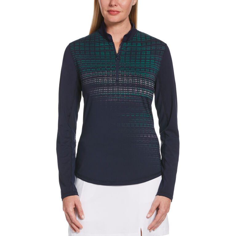 Playing the Blues Collection: Diffused Print Sun Protection Quarter Zip Pull Over
