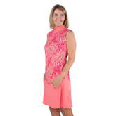 Pink Lady Collection: Sleeveless Leaf Print Mock Shirt