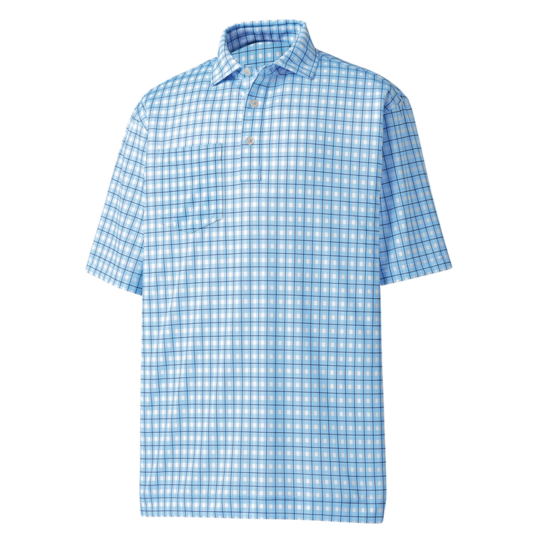 FootJoy Lisle Plaid Print Self Collar Polo