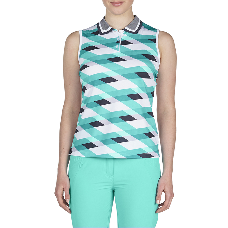 Discover Group: Sleeveless Weave Print Polo