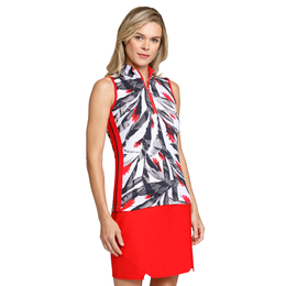 Crimson Chic Group: Charlette Sleeveless Leaf Print Top