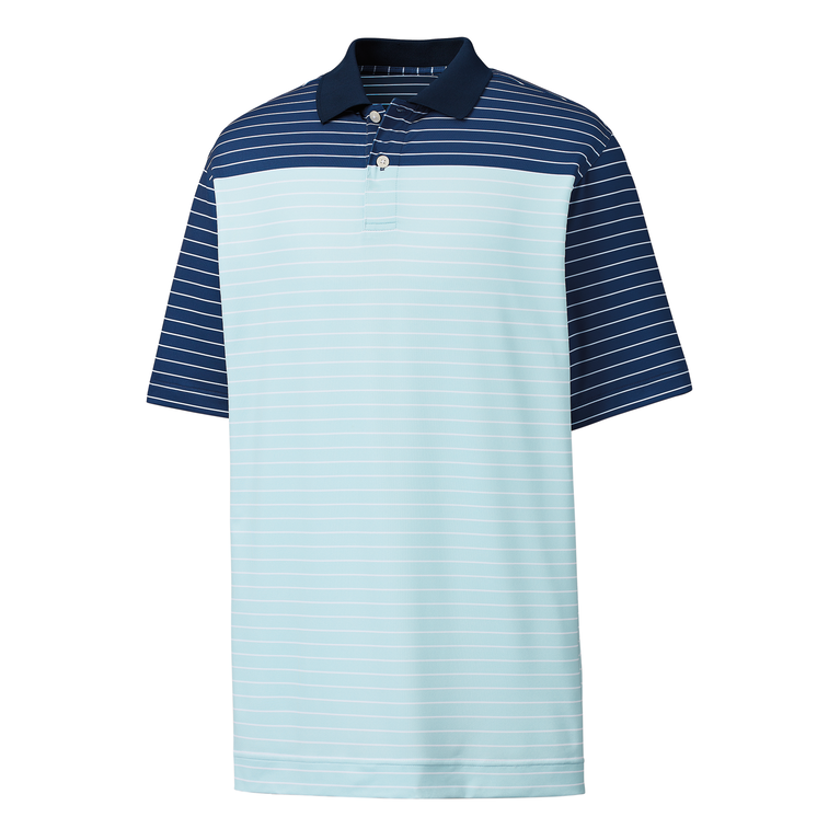 Athletic Fit Lisle Color Block Stripe Knit Collar Polo
