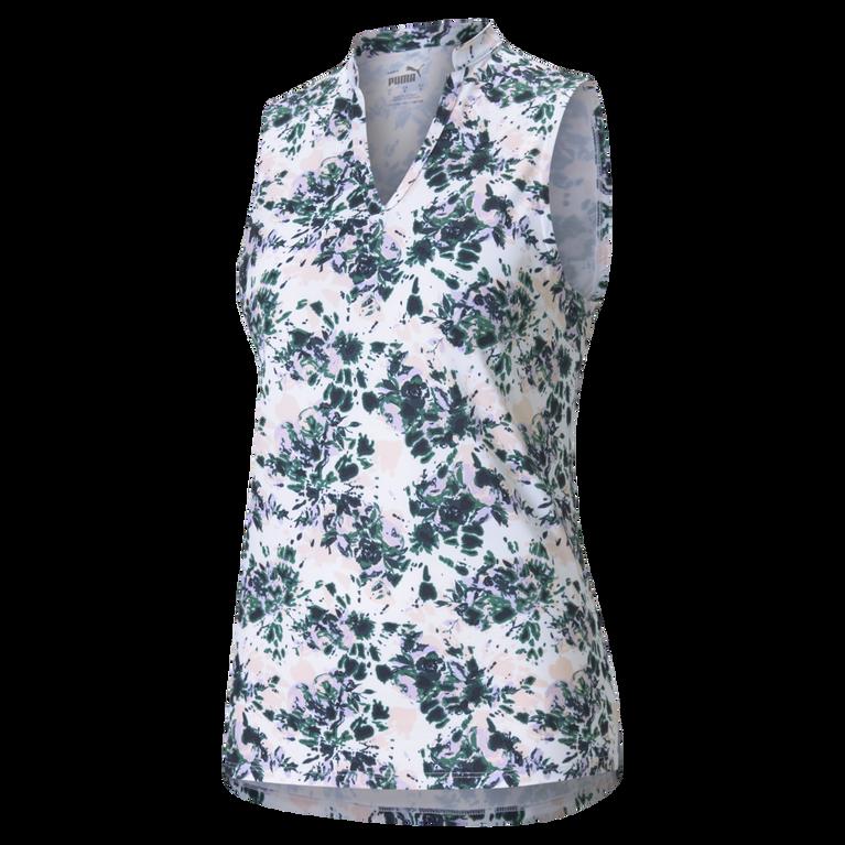 Cloudspun Sleeveless Floral Tie Dye Polo Shirt