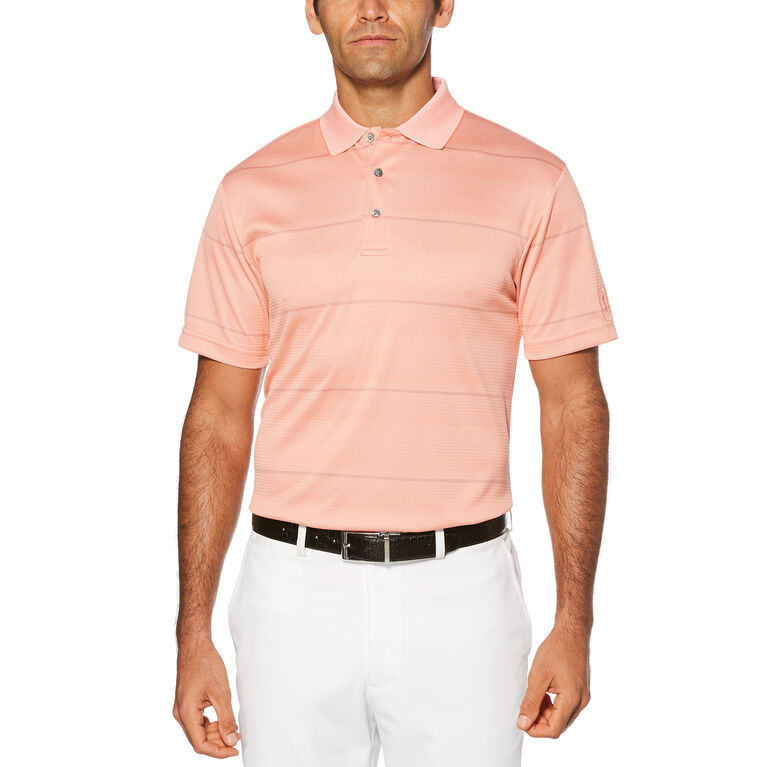 Double Texture Stripe Short Sleeve Polo Golf Shirt