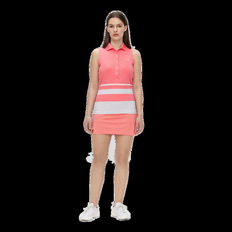 Tess Sleeveless Striped Golf Polo