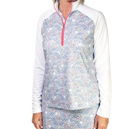 Coastal Collection: Long Sleeve Leaf Print Quarter Zip Pull Over
