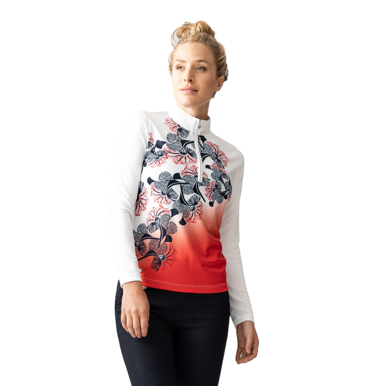 Red Dimension Collection: Minea Long Sleeve Printed Quarter Zip Pull Over