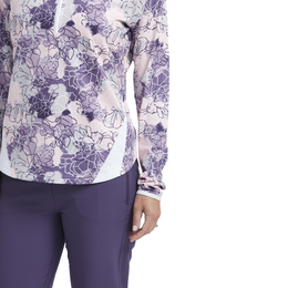 Impatiens Collection: Women's Long Sleeve Floral Quarter Zip Pull Over