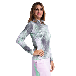 Aquarius Collection: Alexandria Long Sleeve Abstract Print Quarter Zip Pull Over