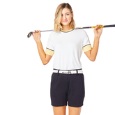Biltmore Collection: Piped Rib Trim Short Sleeve Top