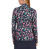 Alternate View 1 of Playing the Blues Collection: Floral Print Sun Protection Long Sleeve Quarter Zip Pull Over