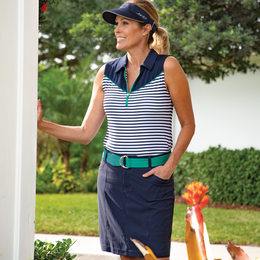 Appletini Collection: Sleeveless Striped Polo