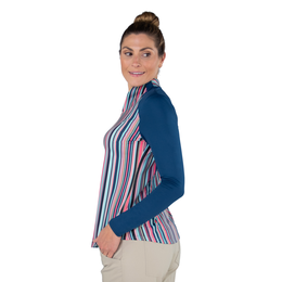 Hot Toddy Collection: Long Sleeve Striped Vista Mock Shirt