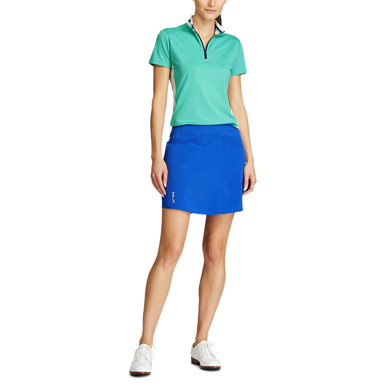 Ribbed Trim Collar Short Sleeve Quarter Zip