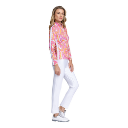 Fun in the Sun Collection: Wavy Print Long Sleeve Quarter Zip Pull Over
