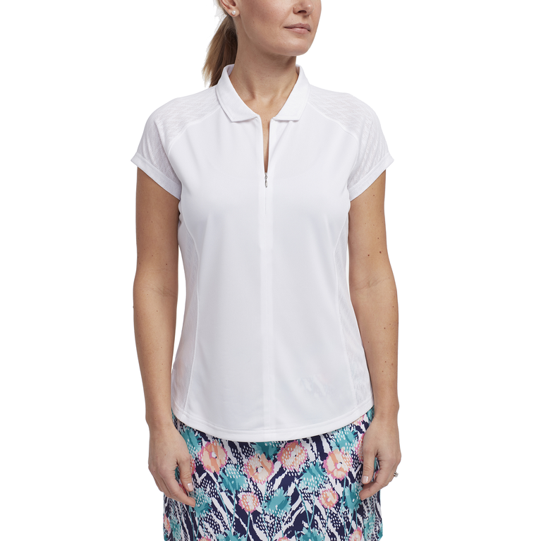 Tropical Collection: Mesh Panel Cap Sleeve Top