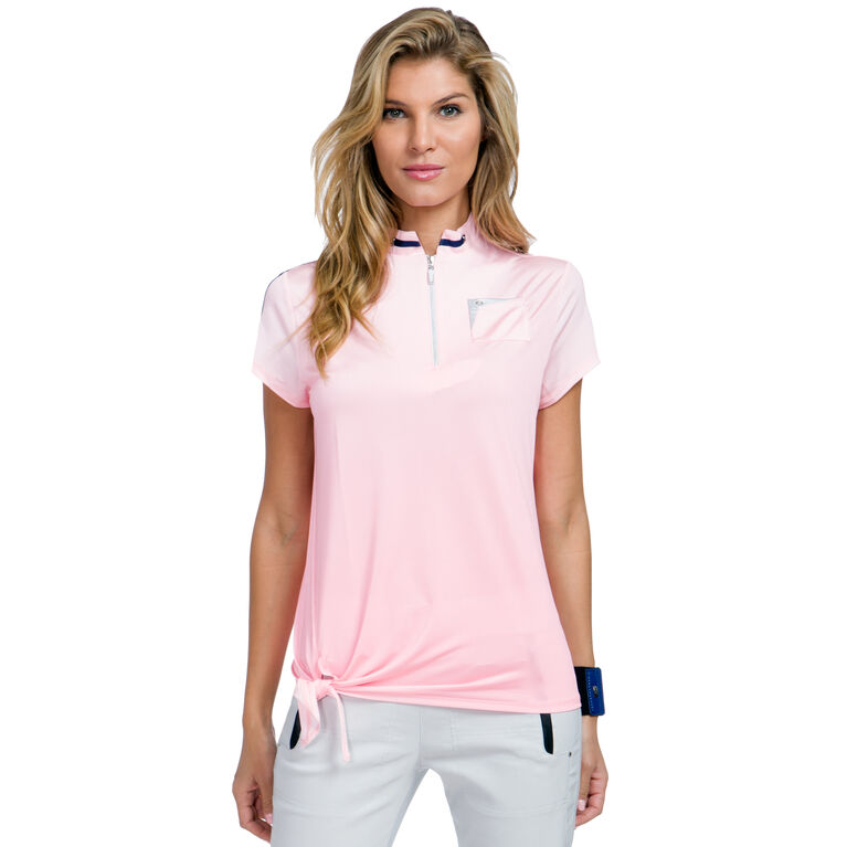 Cupid Group: Ombre Dots Short Sleeve Quarter Zip Top