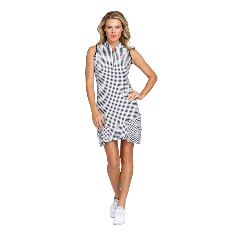 Delicate Blooms Collection: Siri Check Jacquard Sleeveless Dress