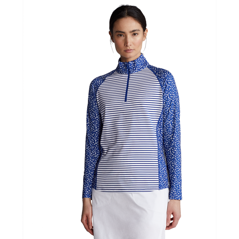 Daisy Striped Long Sleeve Airflow Quarter Zip Pull Over