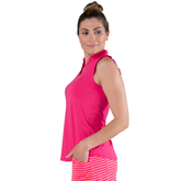 Alternate View 5 of Pink Lady Collection: Sleeveless Cutaway Ruffle Mock Golf Shirt