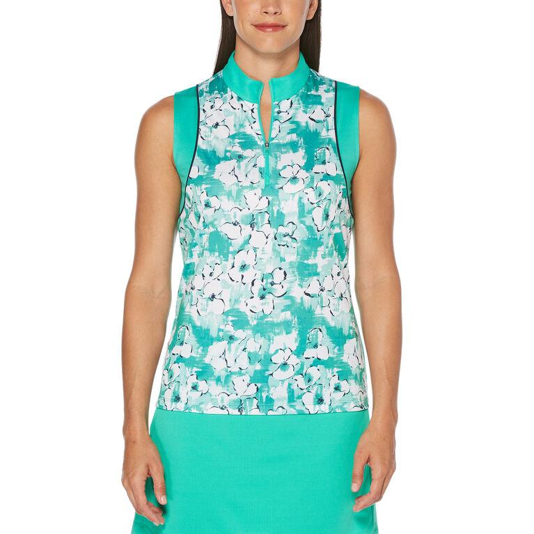 Green Group: Watercolor Floral Print Sleeveless Golf Shirt