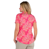 Alternate View 4 of Pink Lady Collection: Vera Short Sleeve Leaf Print Polo