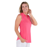 Alternate View 3 of Pink Lady Collection: Sleeveless Striped Polo Shirt