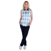 Alternate View 1 of Cape May Powder Collection: Sleeveless Argyle Polo Shirt