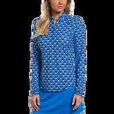Blue Geo Collection: Geo Print Long Sleeve 1/4 Zip Golf Shirt