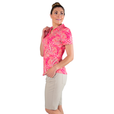 Alternate View 3 of Pink Lady Collection: Vera Short Sleeve Leaf Print Polo