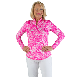 Rojito Collection: Mosaic Print Quarter Zip Pull Over
