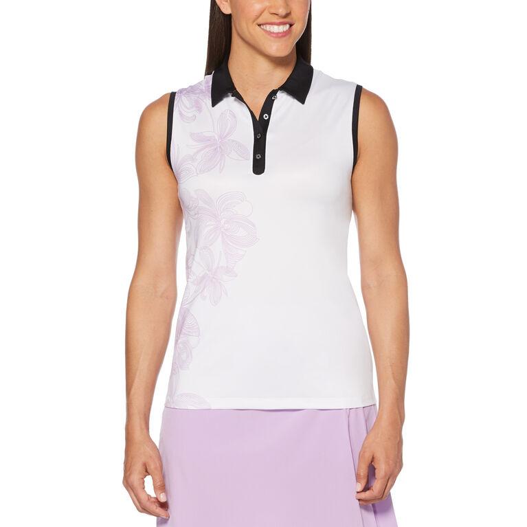 Lilac Collection: Floral Print Sleeveless Golf Polo Shirt