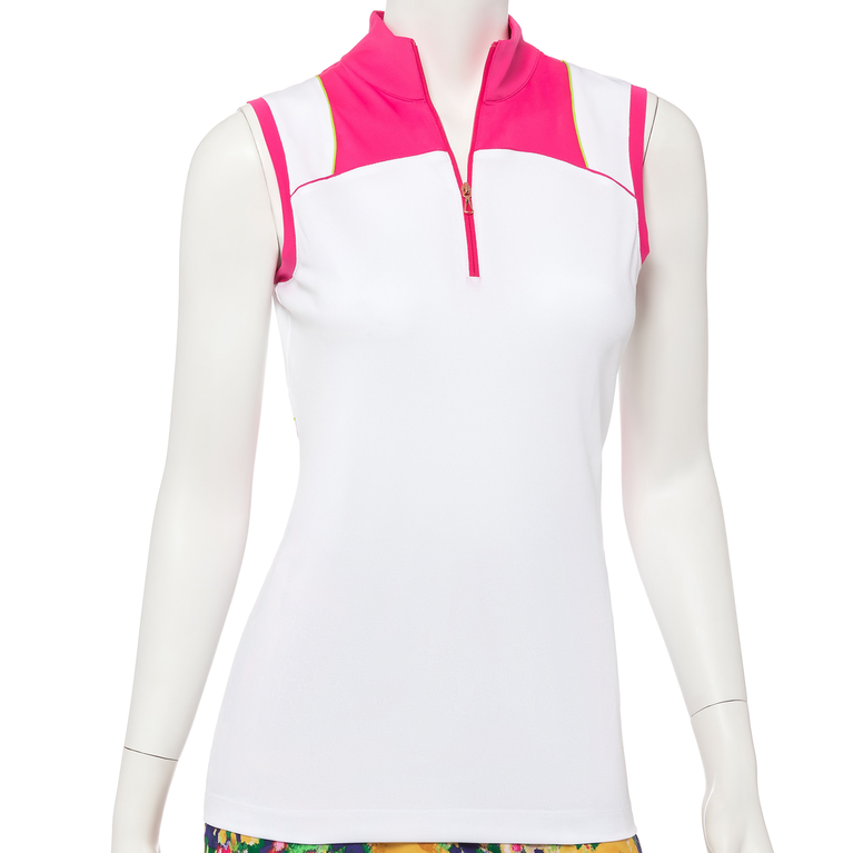 Soleil Collection: Sleeveless Color Blocked Zip Mock Polo