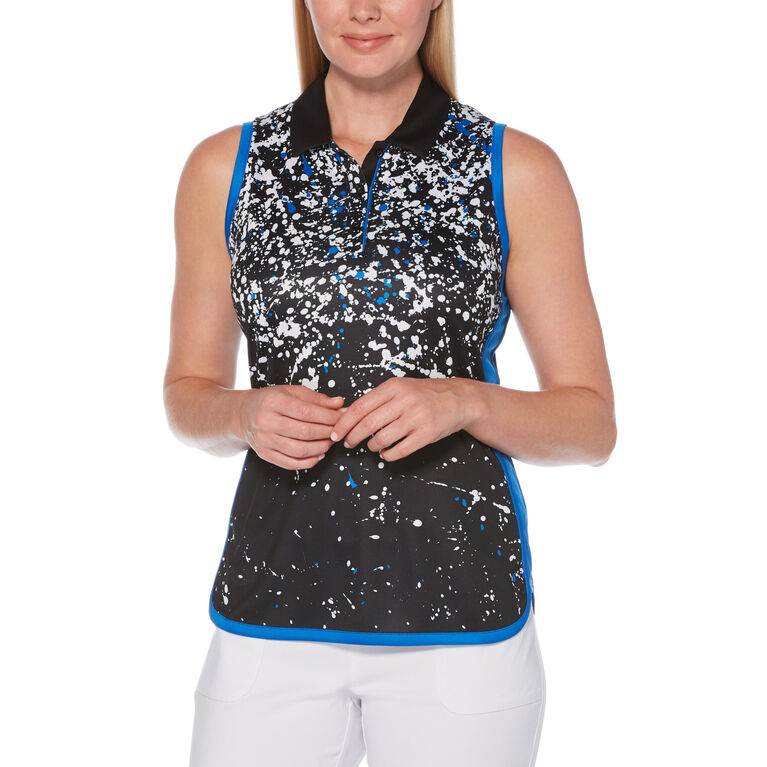 PGA TOUR Black and Blues Collection: Splash Print Sleeveless Golf Shirt