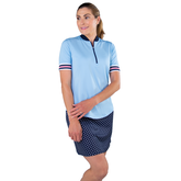 Alternate View 2 of Cape May Powder Collection: Short Sleeve Ribbed Collar Mock Shirt