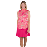 Alternate View 3 of Pink Lady Collection: Sleeveless Leaf Print Mock Shirt