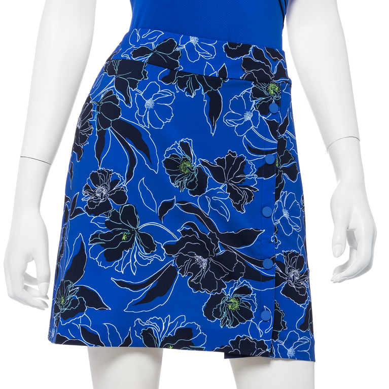 """Out of the Blue Collection: Tricolor Stencil Floral Print 19"""" Skort"""
