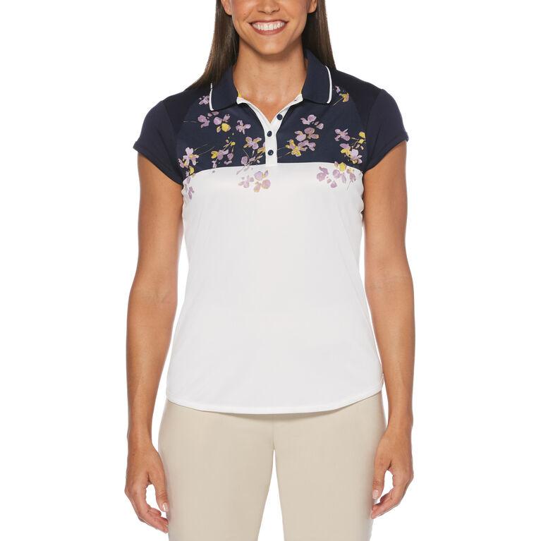 Lilac and Navy Group: Floral Border Print Short Sleeve Golf Polo Shirt