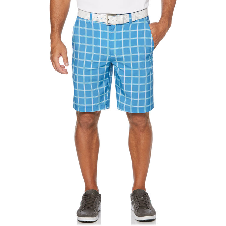 Heather Grid Flat Front Golf Short with Active Waistband