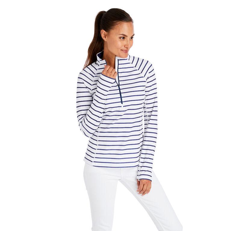 Striped 1/2-Zip Pullover