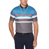 Geo Print Stacked Stripe Short Sleeve Polo Golf Shirt