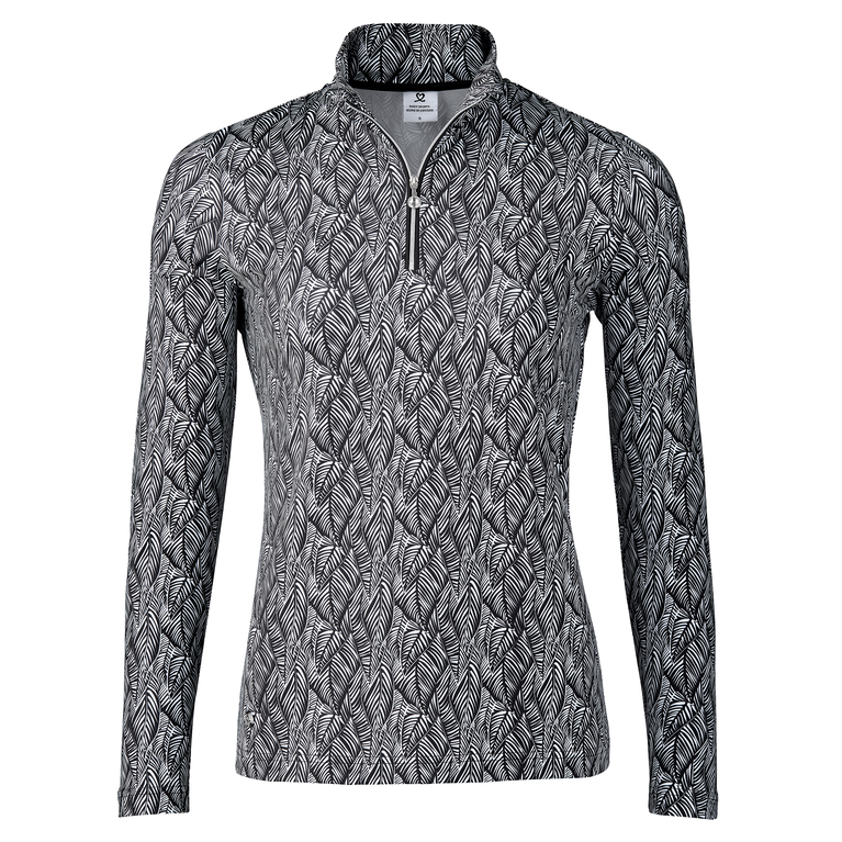 Birdie Collection: Lettie Feather Print Quarter Zip Pull Over