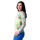 Alternate View 1 of Watercolor Florals Mock Quarter Zip Pull Over Top