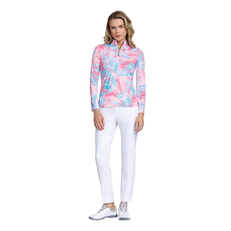Fun in the Sun Collection: Palm Print Long Sleeve Quarter Zip Pull Over